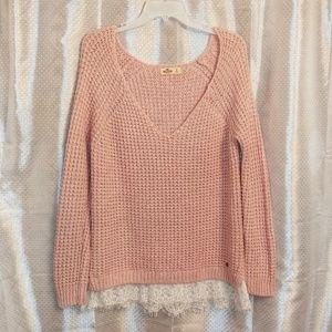 Hollister Pink Chunky Knit Sweater Size L